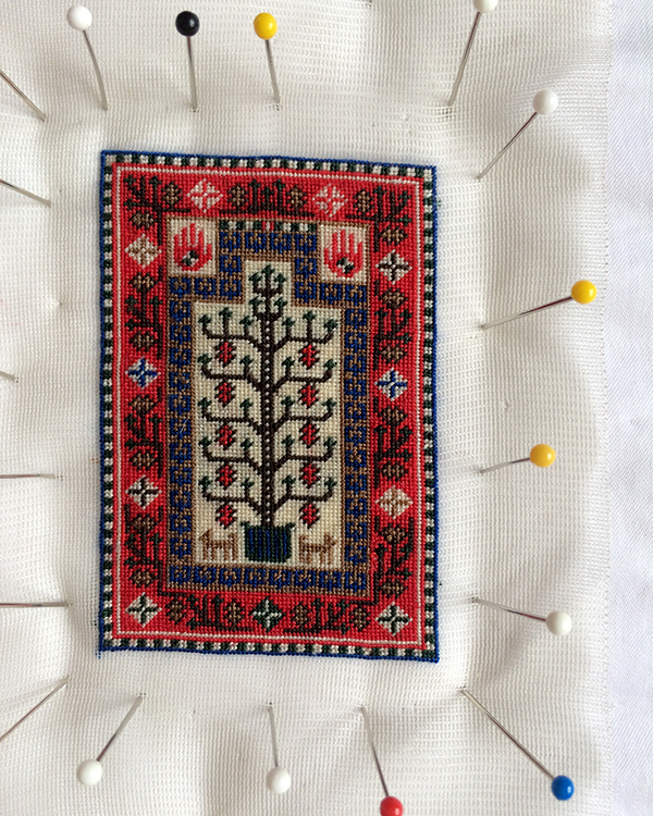 Blocking the tiny Baluchi prayer rug