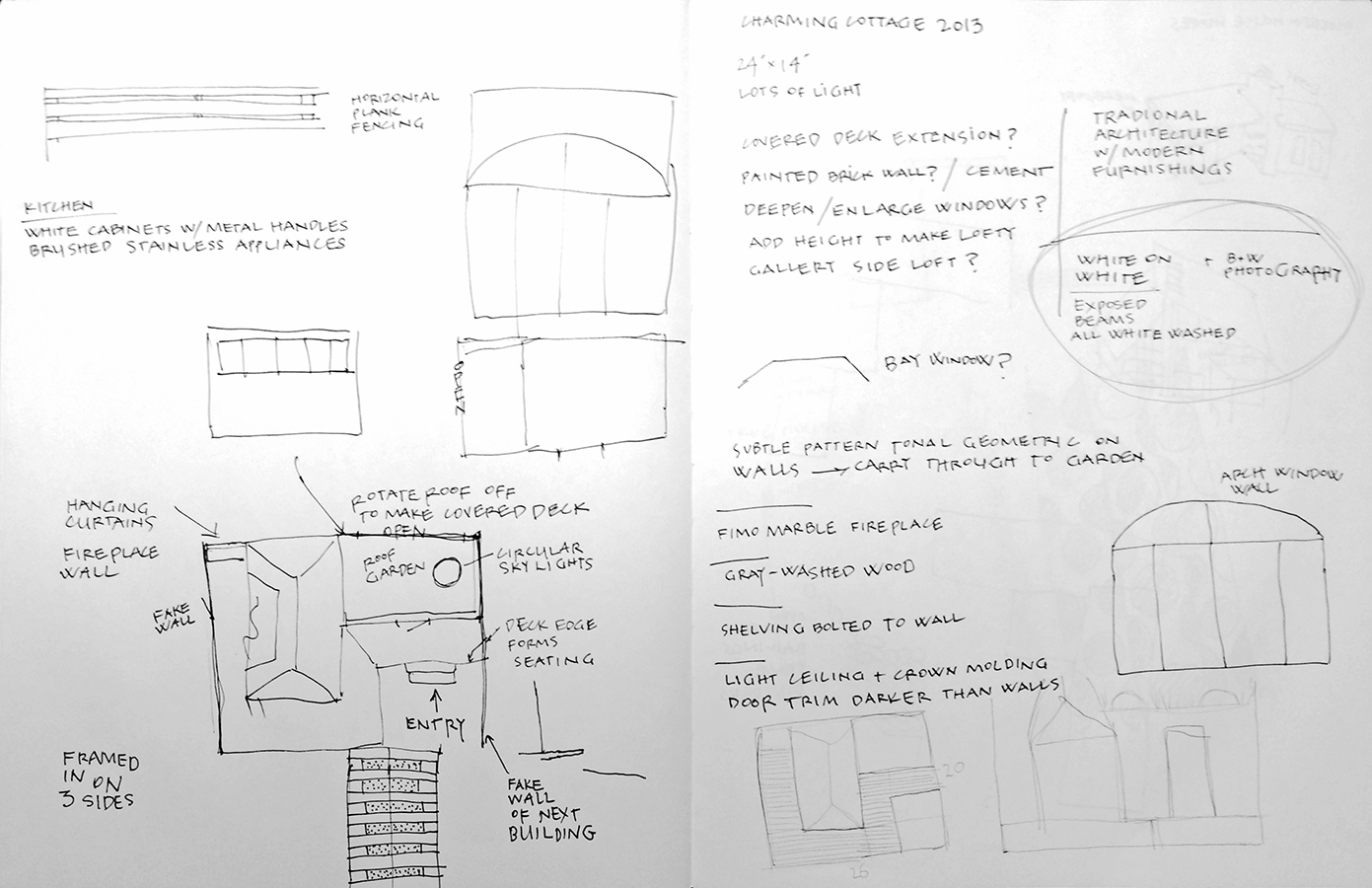 Some of my sketches and notes for the Charming Cottage