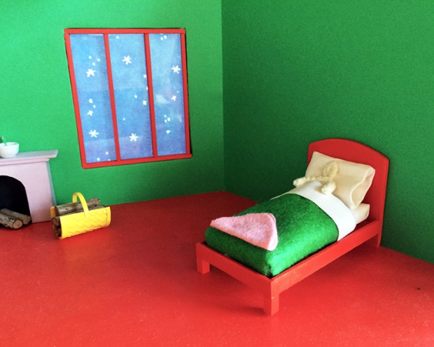 """The """"dressed"""" bed and tiny placeholder Bunny frame"""