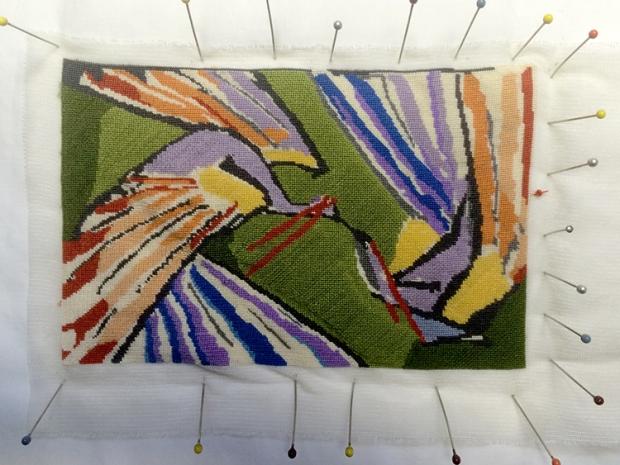 modern miniature peacock rug