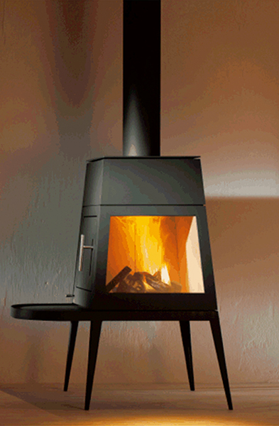 Shaker wood burning stove/fireplace, designed by Antonio Citterio with Toan Nguyen. Beauty.